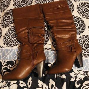 Brown high-heel boots